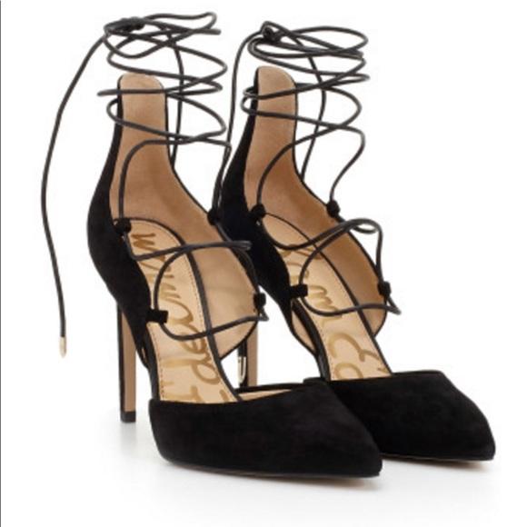 f38b2d43a41 Sam Edelman black lace up Helaine suede pumps. M 5a7b9cad3a112e72cfcbad3b